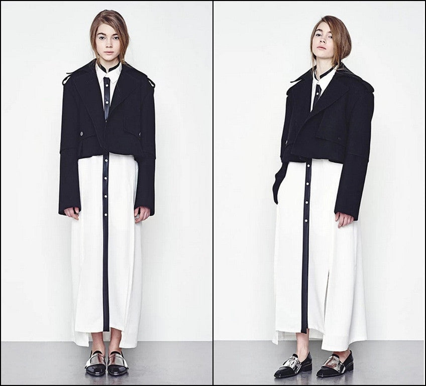Winter Short Black Woolen Coat // Wool Long-Loose made oversized Sleeved Jacket Details