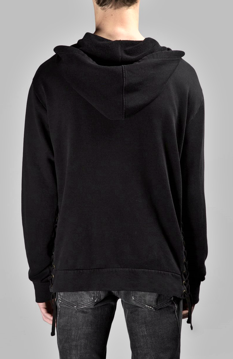 SIDE STRINGS Men's Black Hoodie // Asymmetric Zip Closure // Big Hood / Oversized Skinny Sweatshirt