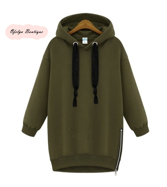 Women Side Zipper Long Fleece Sweatshirt Hoodie Overlong Oversize Velvet Drawstrings