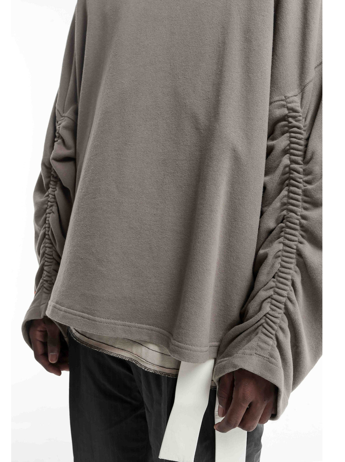 Men's Military Relaxed Winter Oversized Pullover Hoodie / Stich Lines on the Side Ways Sleeves / Back to School