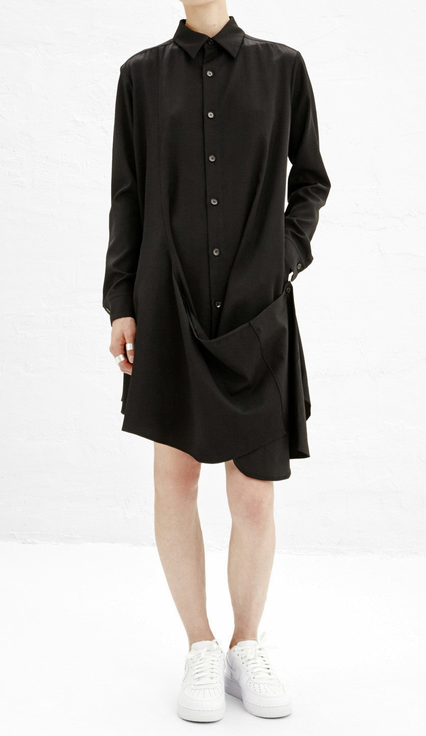 Crossover Buttoned Dress // Loose Fit Cape-Style Blouse Shirt Asymmetrical pleated Skirt Cotton Mix Polyester Shirt Dress Tunic Kaftan