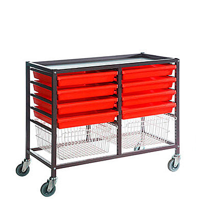 Gratnells A3 Trolley, 8 Shallow Trays + 2 Deep Baskets