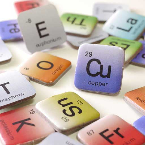 Elemensus - Word game based on the Periodic Table of Chemistry. Detail of the Element tiles