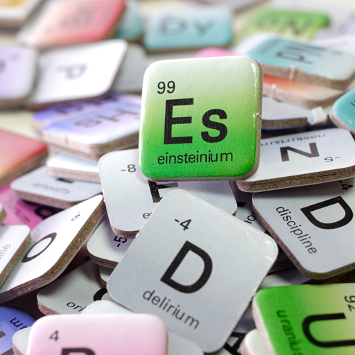 Elemensus - Word game based on the Periodic Table of Chemistry. Detail of the playing tiles.