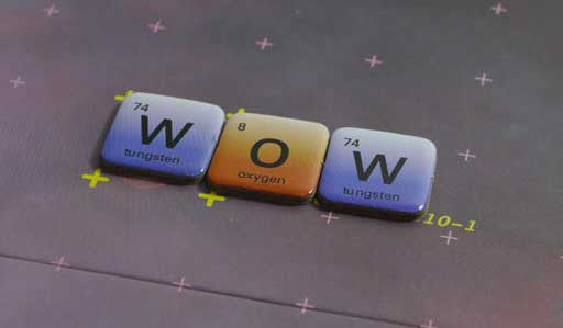 Elemensus - Word game based on the Periodic Table of Chemistry. The Word 'WOW' made with Tungsten (W), Oxygen (O), and Tungsten (W).