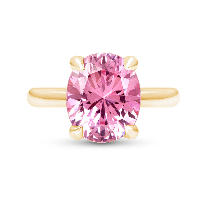 Oval Brilliant Cut Pink Sapphire Bellevue Ring In 14k Gold