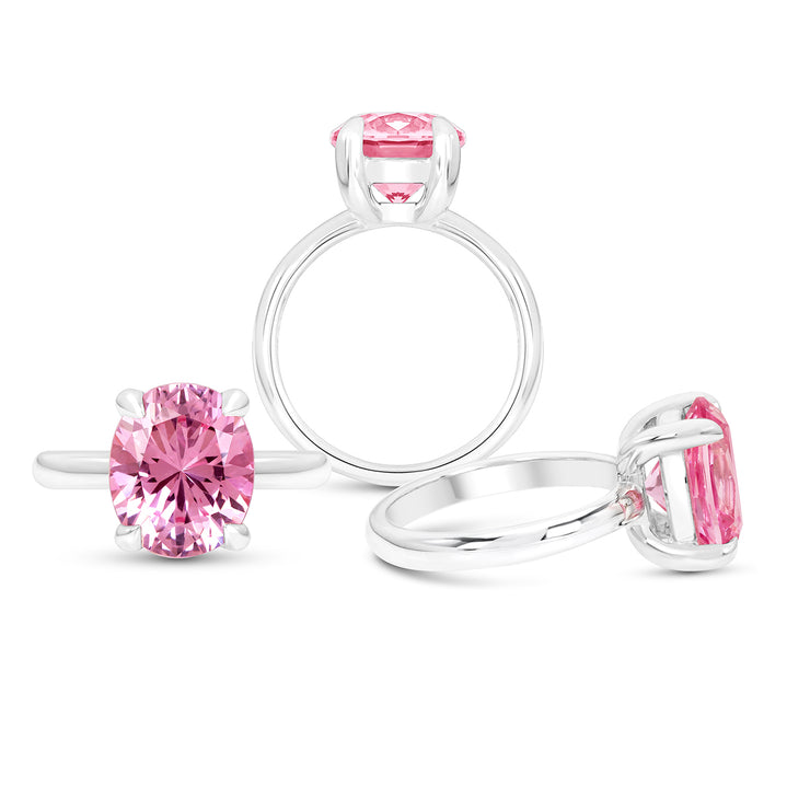 Oval Brilliant Cut Pink Sapphire Bellevue Ring In Silver