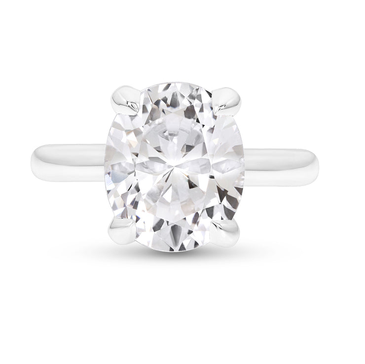 Oval Brilliant Cut White Sapphire Bellevue Ring In Silver