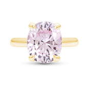 Oval Brilliant Cut Light Pink Sapphire Bellevue Ring In 14k Gold