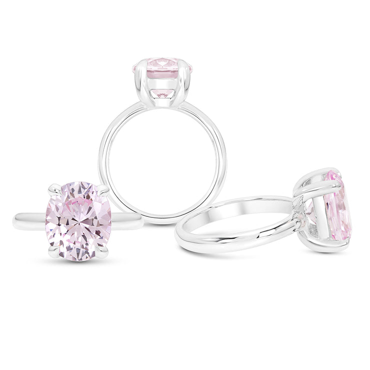 Oval Brilliant Cut Light Pink Sapphire Bellevue Ring In Silver