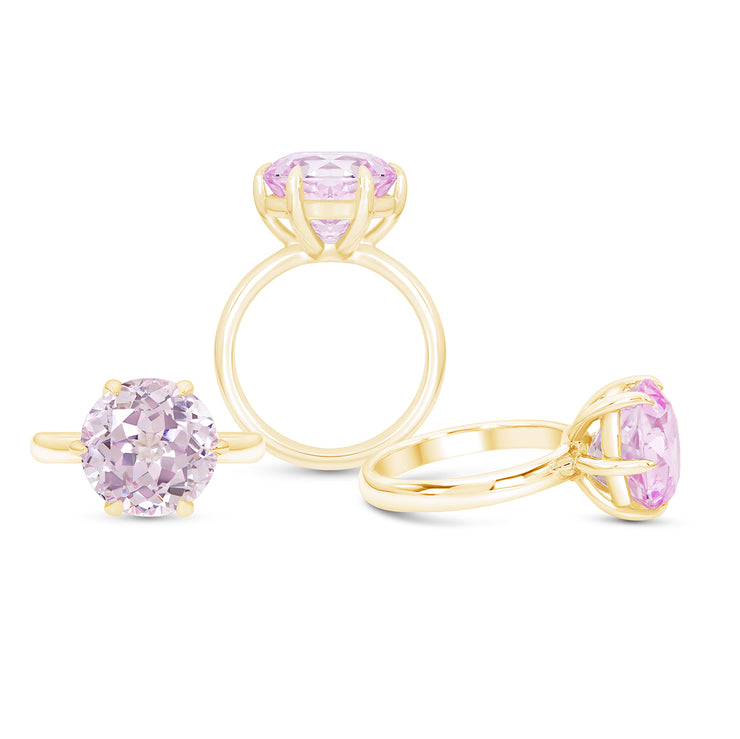 Antique Cut Light Pink Sapphire Crown Ring In 14k Gold