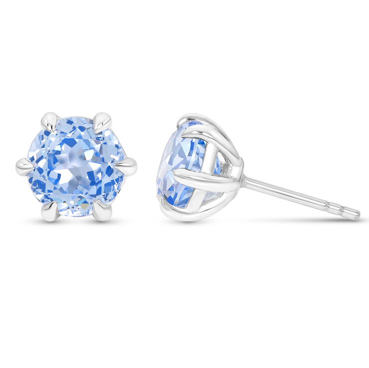 Antique Cut Blue Spinel Crown Studs In Silver