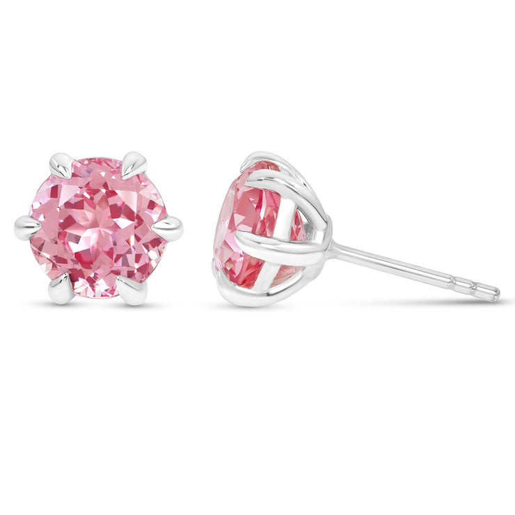 Antique Cut Pink Sapphire Crown Studs In Silver