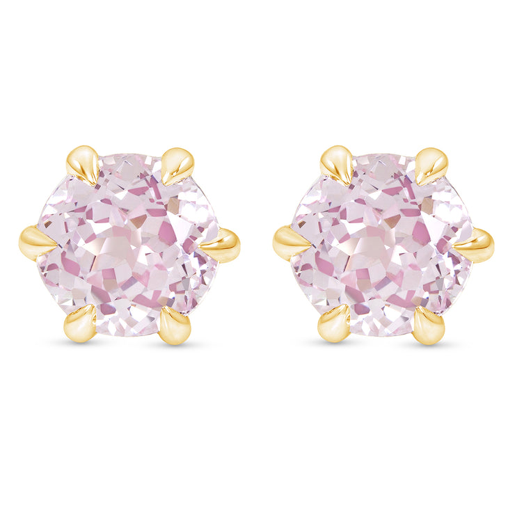 Antique Cut Light Pink Sapphire Crown Studs In 14k Gold