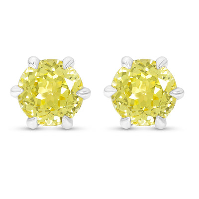 Canary Yellow Sapphire Crown Studs