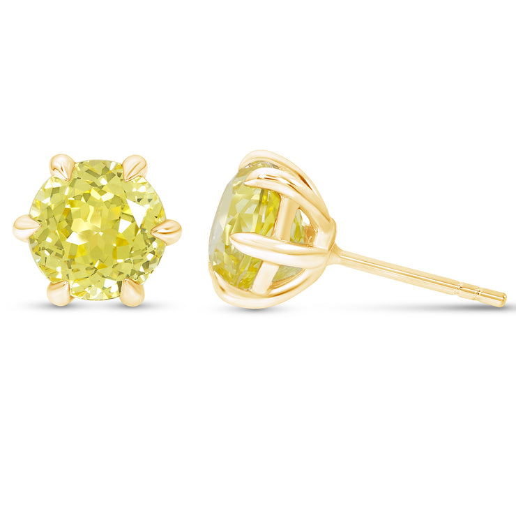 Antique Cut Yellow Sapphire Crown Studs In 14k Gold