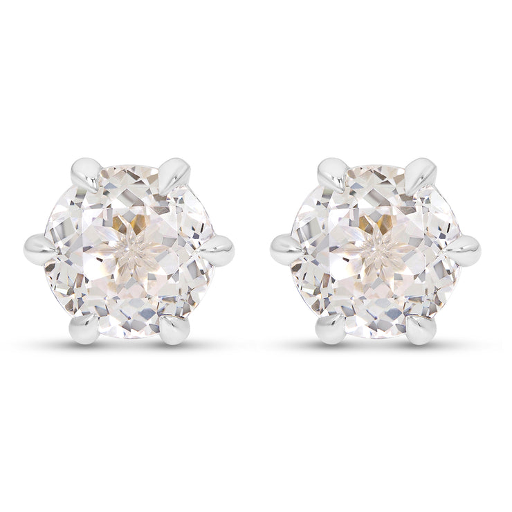 Antique Cut White Sapphire Crown Studs In Silver