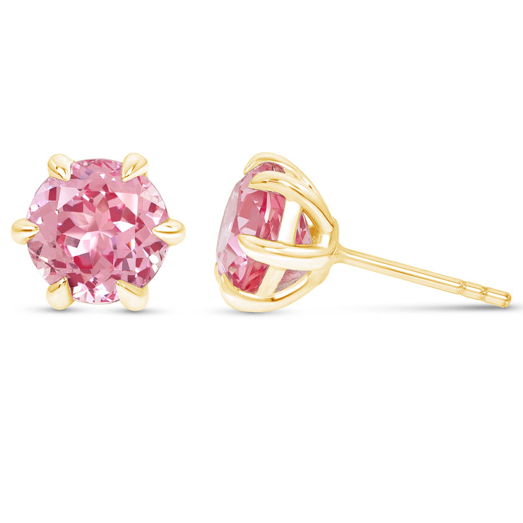 Antique Cut Pink Sapphire Crown Studs In 14k Gold