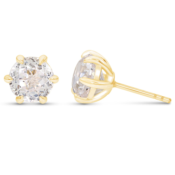 Antique Cut White Sapphire Crown Studs In 14k Gold