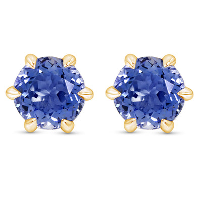 Light Blue Sapphire Crown Studs