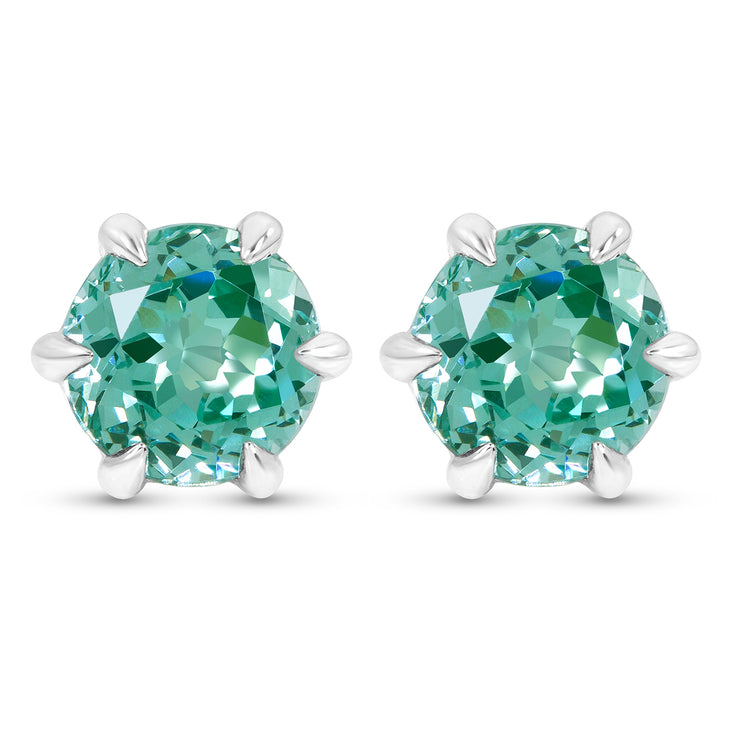 Antique Cut Teal Green Spinel Crown Studs In Silver