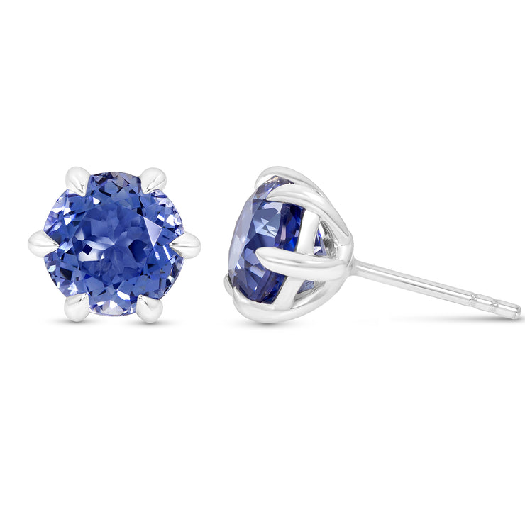 Antique Cut Blue Sapphire Crown Studs In Silver
