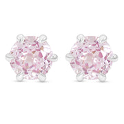 Antique Cut Light Pink Sapphire Crown Studs In Silver
