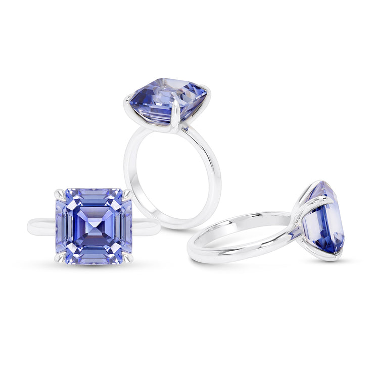 Asscher Cut Light Blue Sapphire Riviera Ring