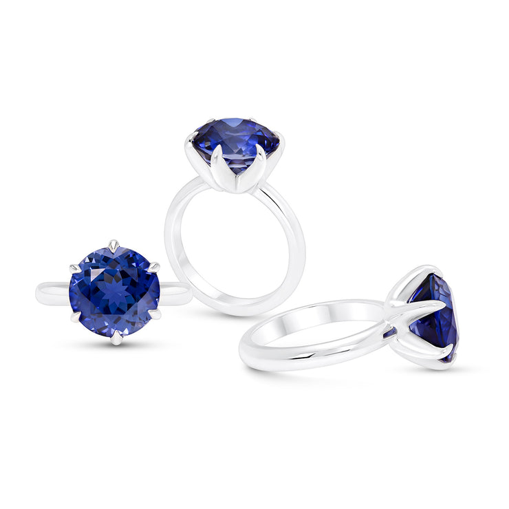 Royal Blue Sapphire Crown Ring