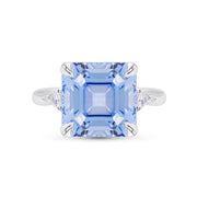 Asscher Cut Blue Spinel 3 Stone Ring