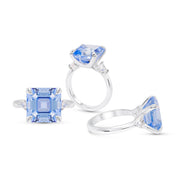 Blue Spinel Asscher Cut 3 Stone Ring