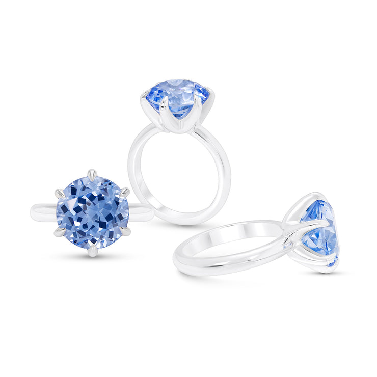 Antique Cut Blue Spinel Crown Ring In Silver