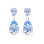 Double Pear Cut Blue Spinel Drop Earrings