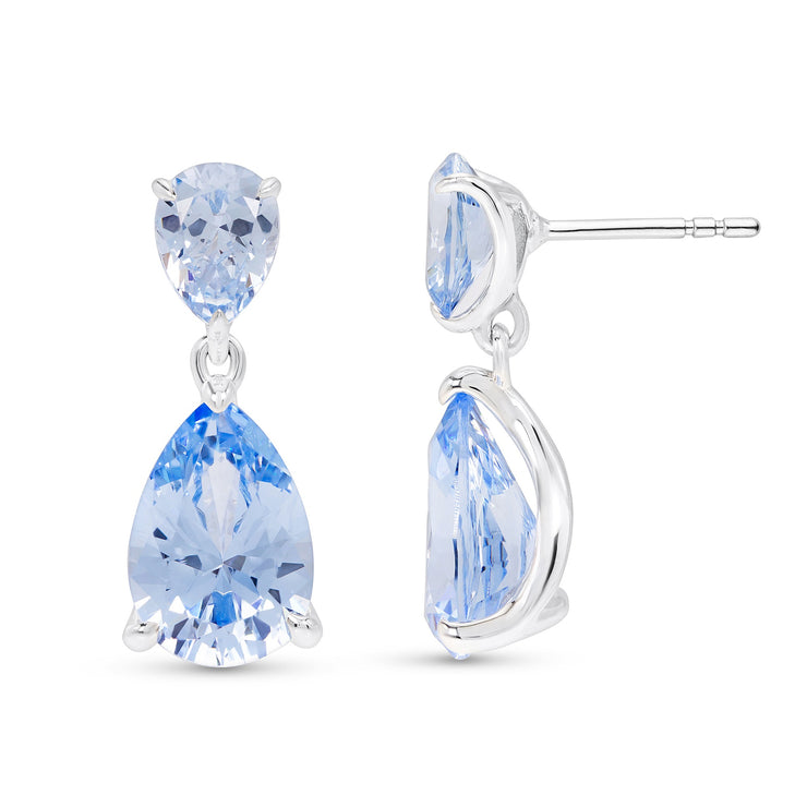 Pear Cut Blue Spinel Drop Earrings
