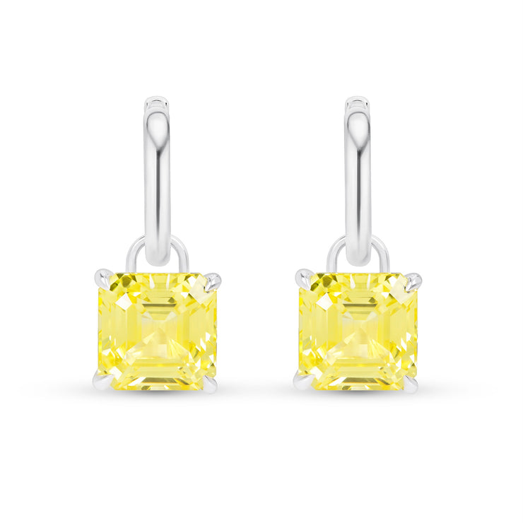 Asscher Cut Canary Yellow Sapphire Earrings