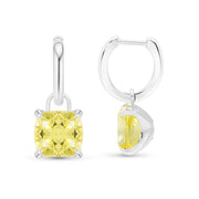 Cushion Cut Canary Yellow Sapphire Earrings