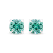 Cushion Cut Paraiba Stud Earrings