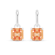 Asscher Cut Peach Padparadscha Sapphire Earrings