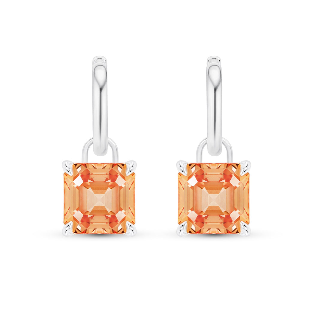 karat pair and gold padparadscha white diamond centering sapphire platinum of pin two earclips earrings