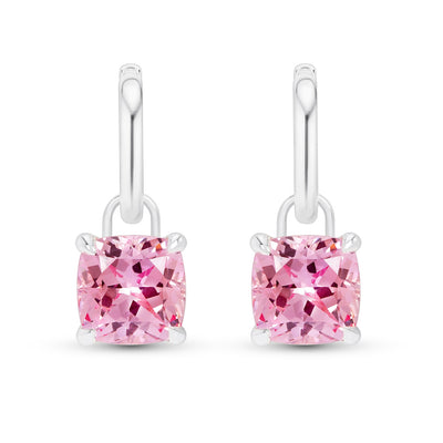 Cushion Cut Padparadscha Sapphire Earrings