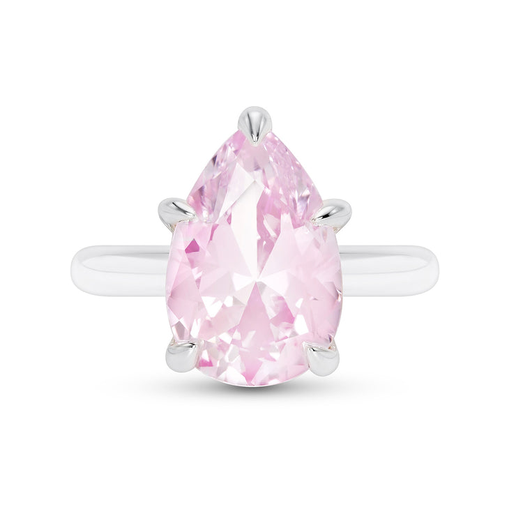 Rose Pink Sapphire Pear Cut Ring
