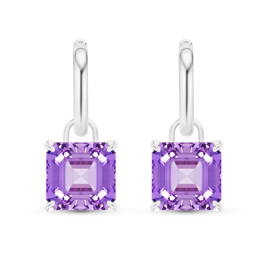 Asscher Cut Purple Sapphire Earrings