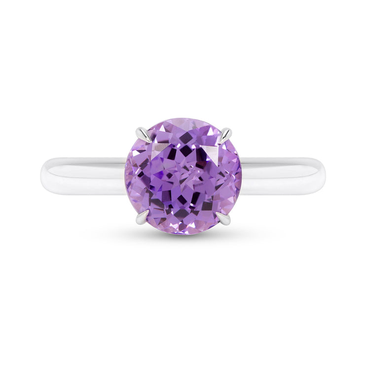 Antique Cut Purple Sapphire Starlet Ring In Silver