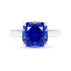 5 Carat Cushion Cut Blue Sapphire Ring