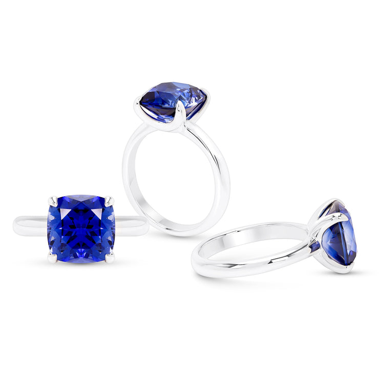Cushion Cut Royal Blue Sapphire Heritage Ring