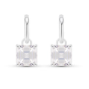 Asscher Cut White Sapphire Earrings