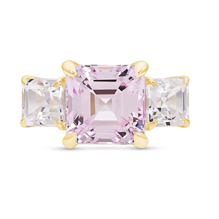 Asscher Cut Light Pink Sapphire Deco Ring In 14k Gold
