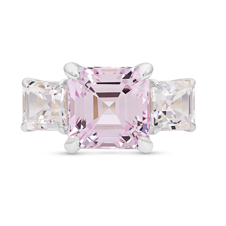 Asscher Cut Light Pink Sapphire Deco Ring In Silver