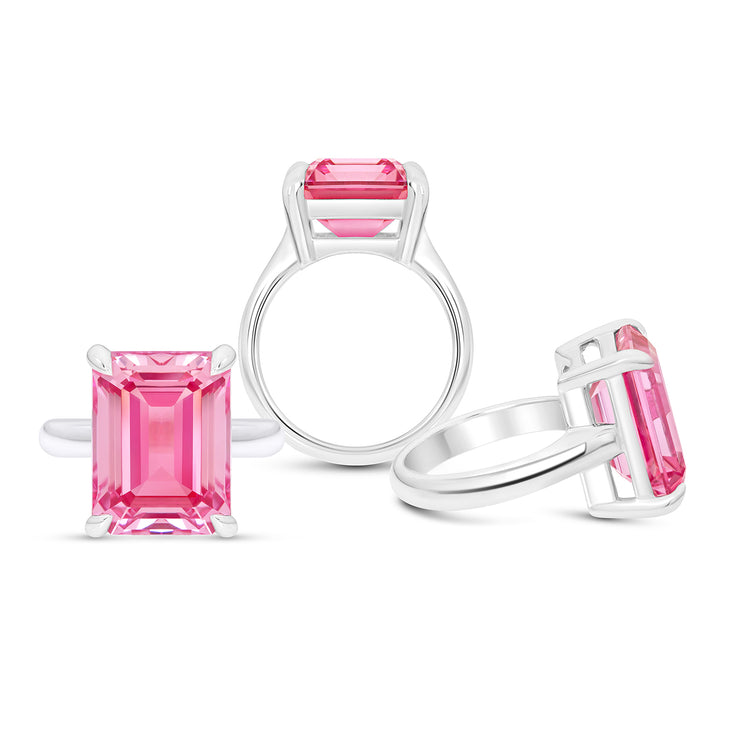 Emerald Cut Pink Sapphire Empire Ring In Silver