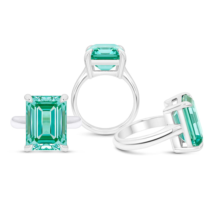 Emerald Cut Teal Green Spinel Empire Ring In Silver